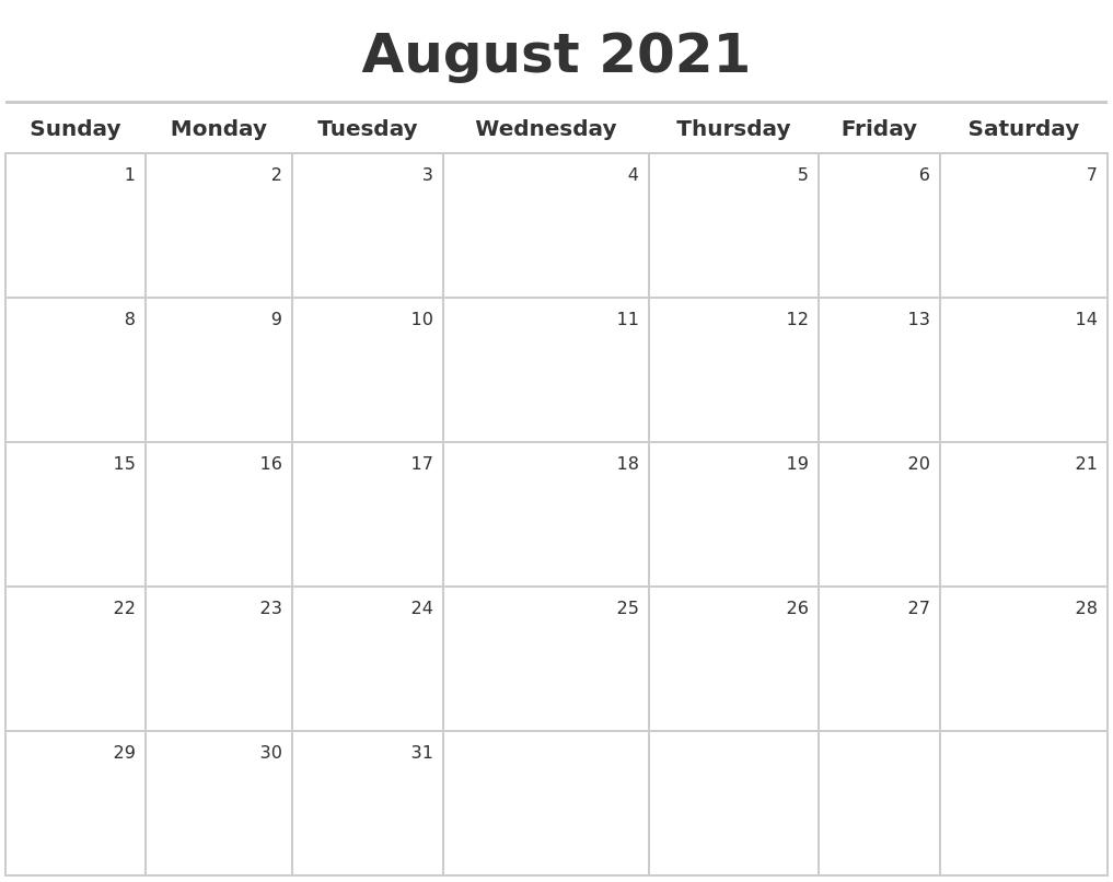 August 2021 Calendar Maker