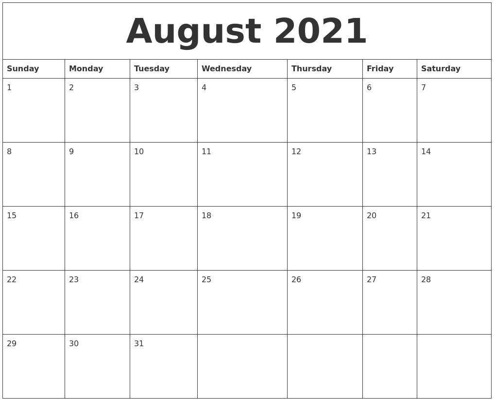 August 2021 Calendar Monthly
