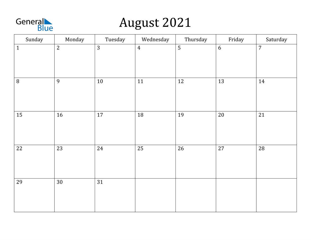 August 2021 Calendar Pdf Word Excel 1