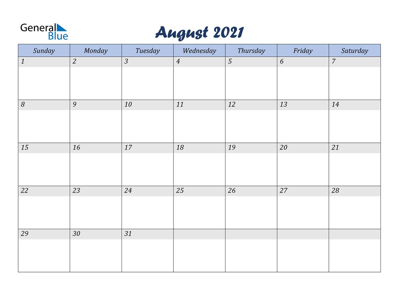 August 2021 Calendar Pdf Word Excel