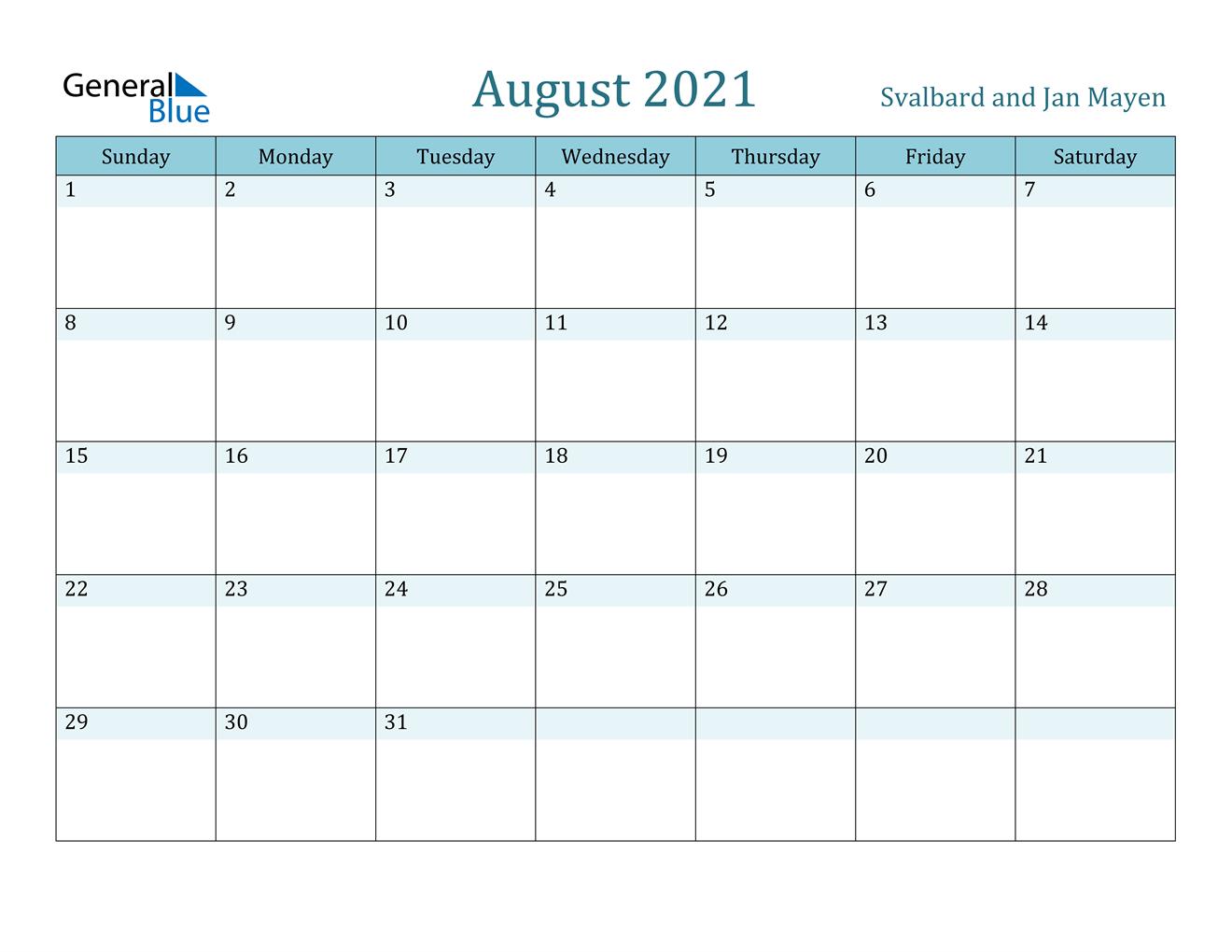 August 2021 Calendar Svalbard And Jan Mayen
