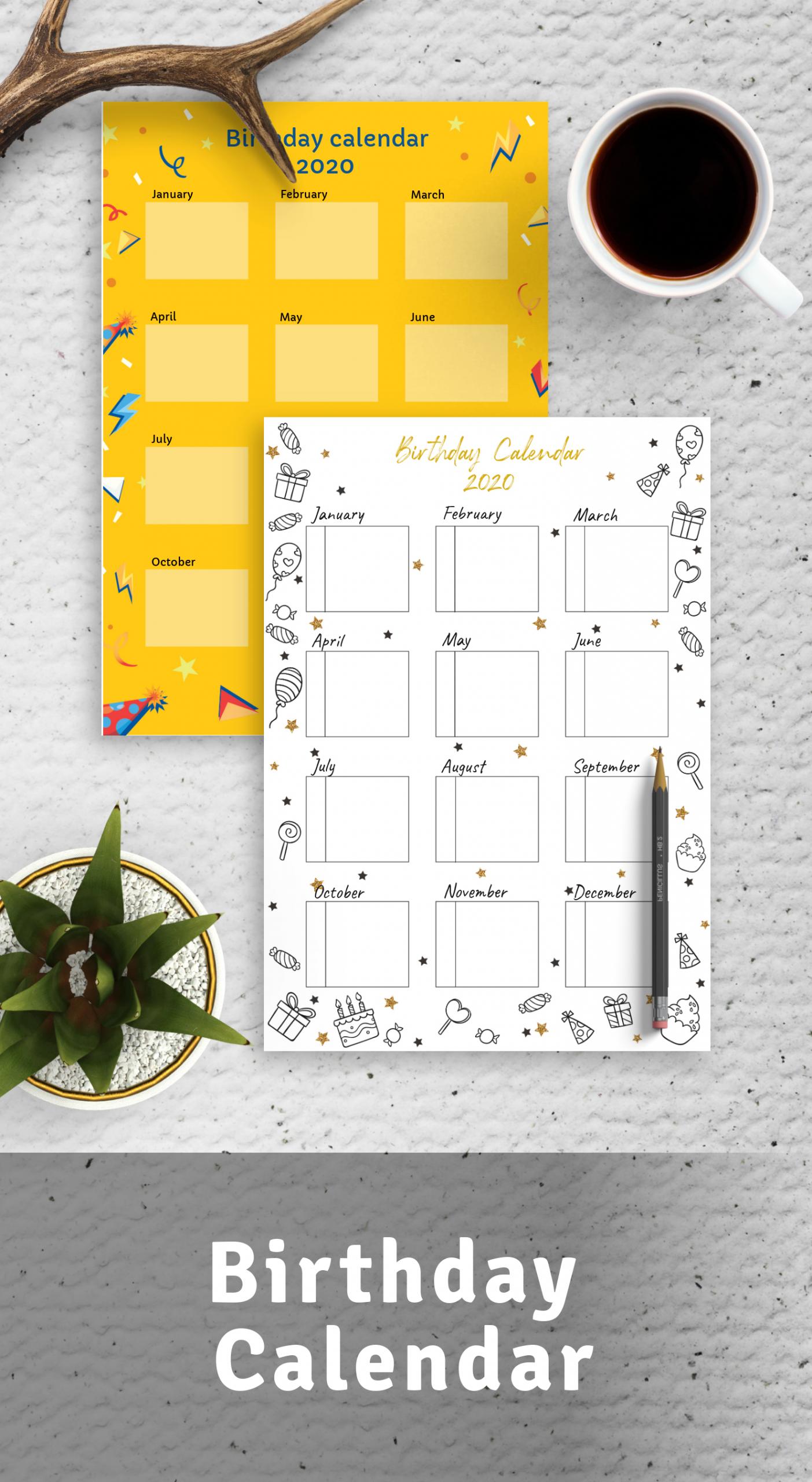 Birthday Calendar Download Printable Birthday Calendar