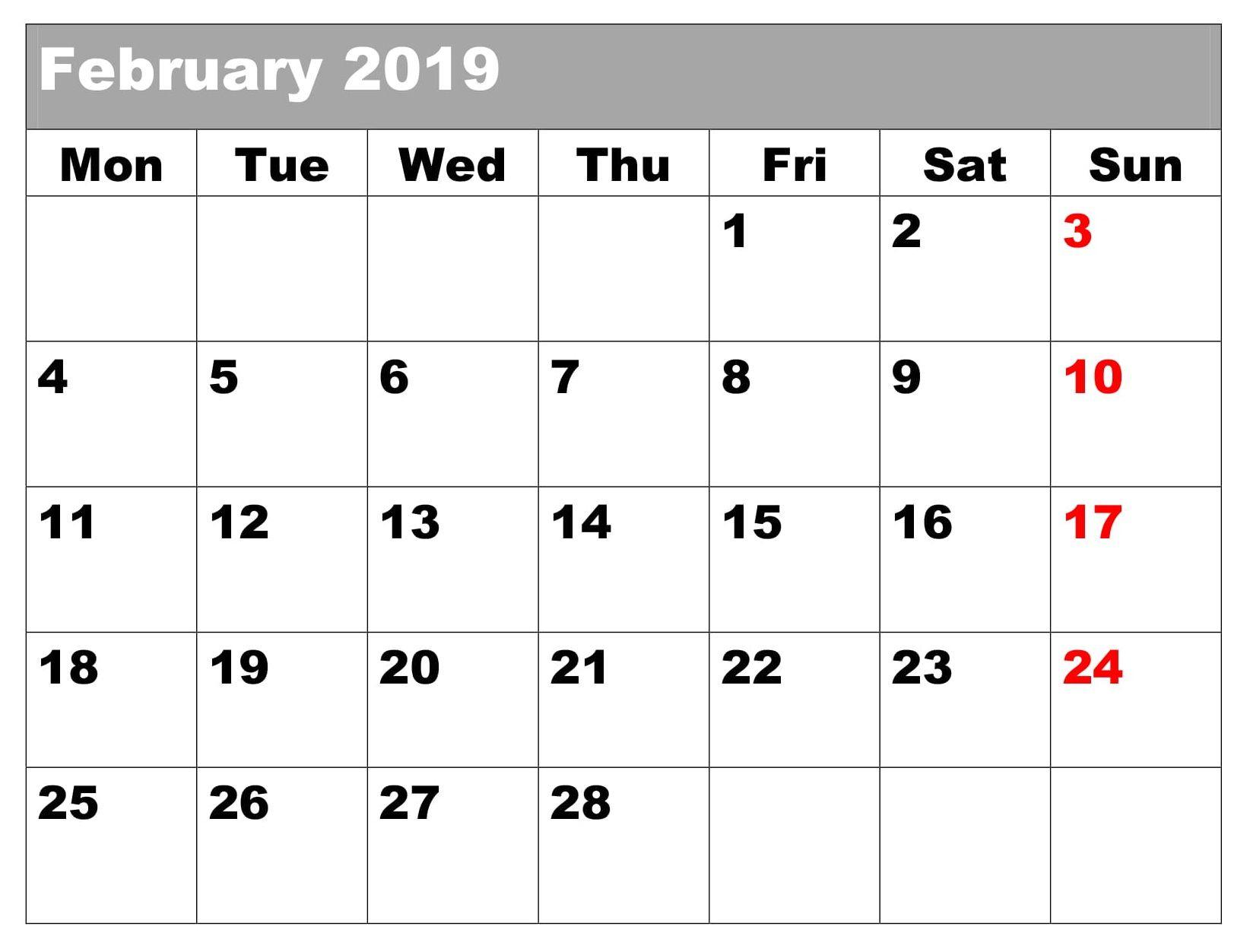 Blank 2019 Editable Calendar February Excel Calendar