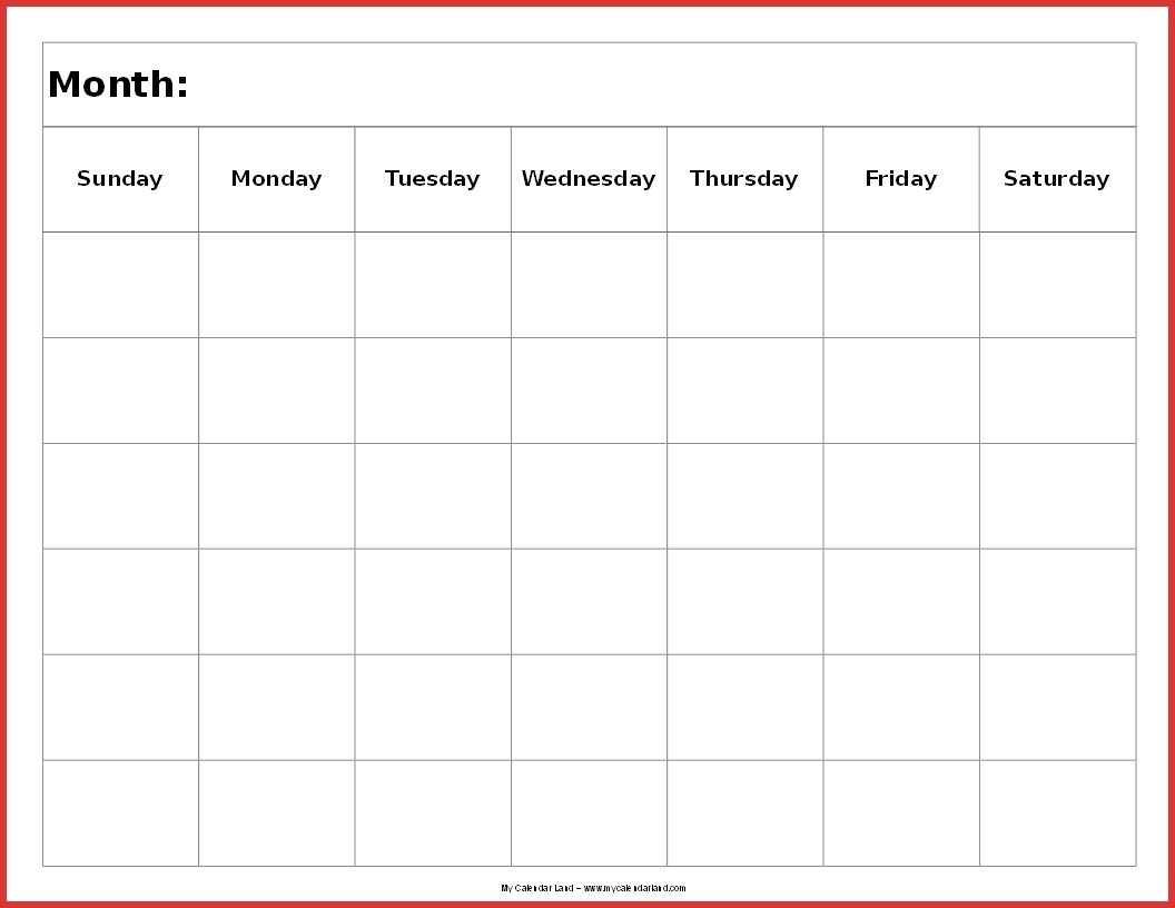 Blank 6 Week Calendar Template Example Calendar Printable 1