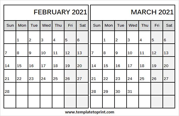 Blank Calendar 2021 February March Printable Blank