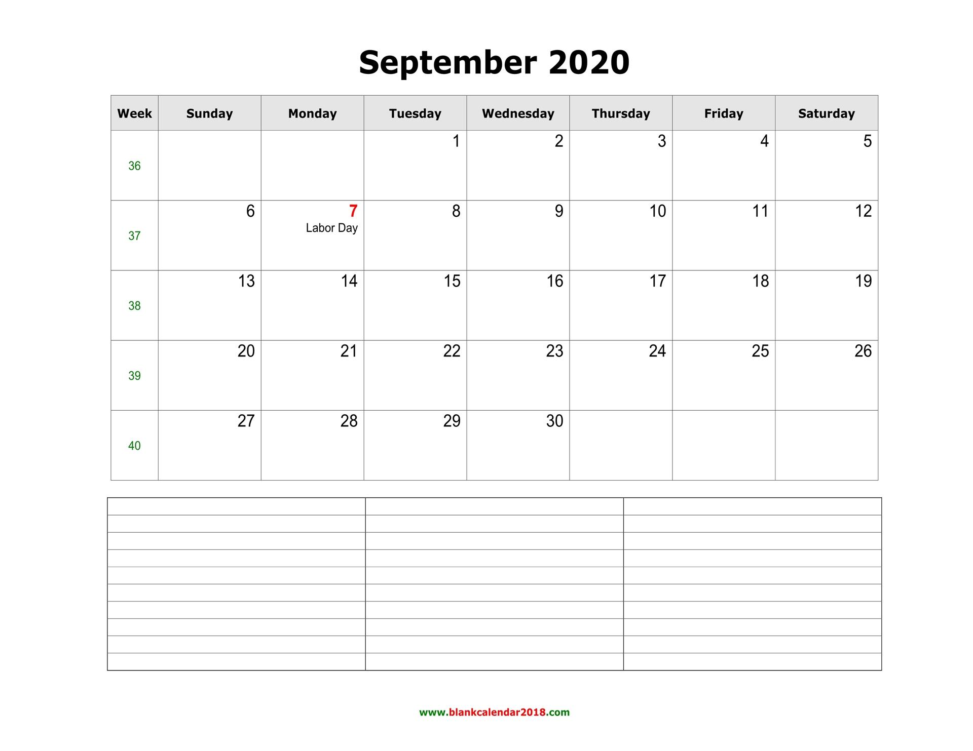 Blank Calendar For September 2020
