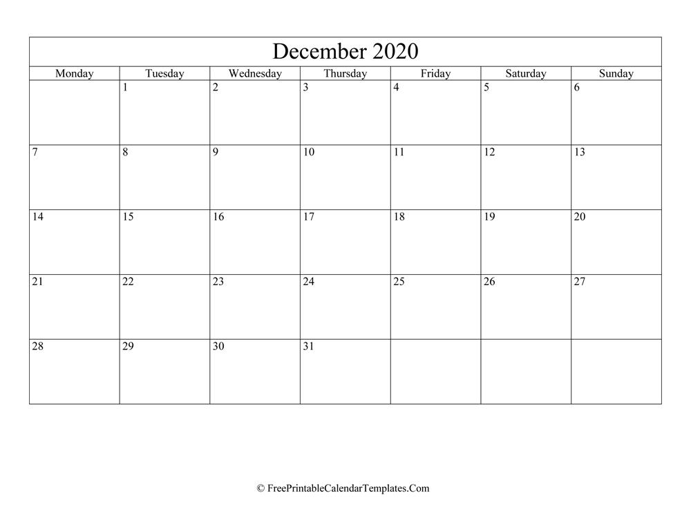 Blank Editable December Calendar 2020 Landscape