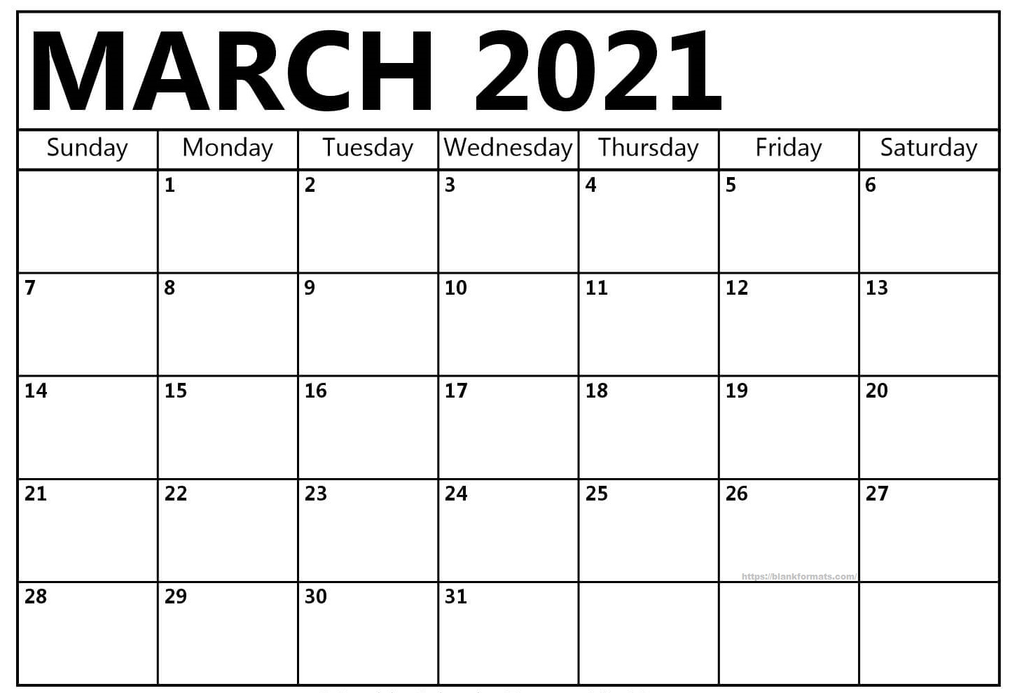 Blank March 2021 Calendar For Daily Schedule Management
