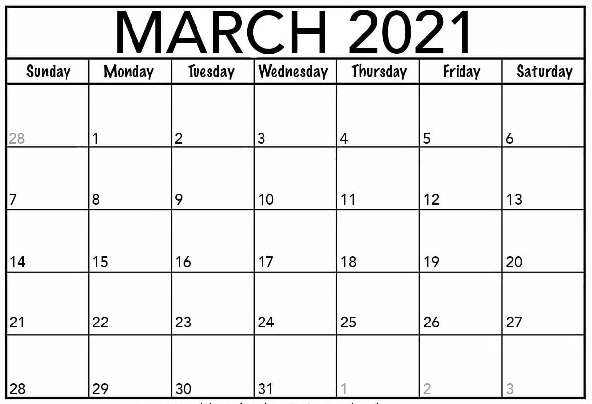 Blank March 2021 Calendar Printable Paper Sheets One