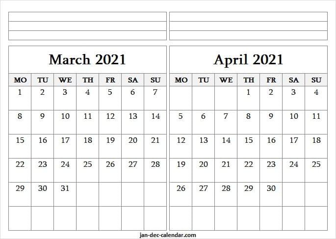 Blank Printable Calendar 2021 March April Editable 2021