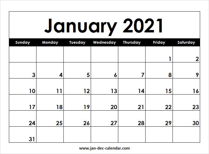 Blank Printable January Calendar 2021 Template Free