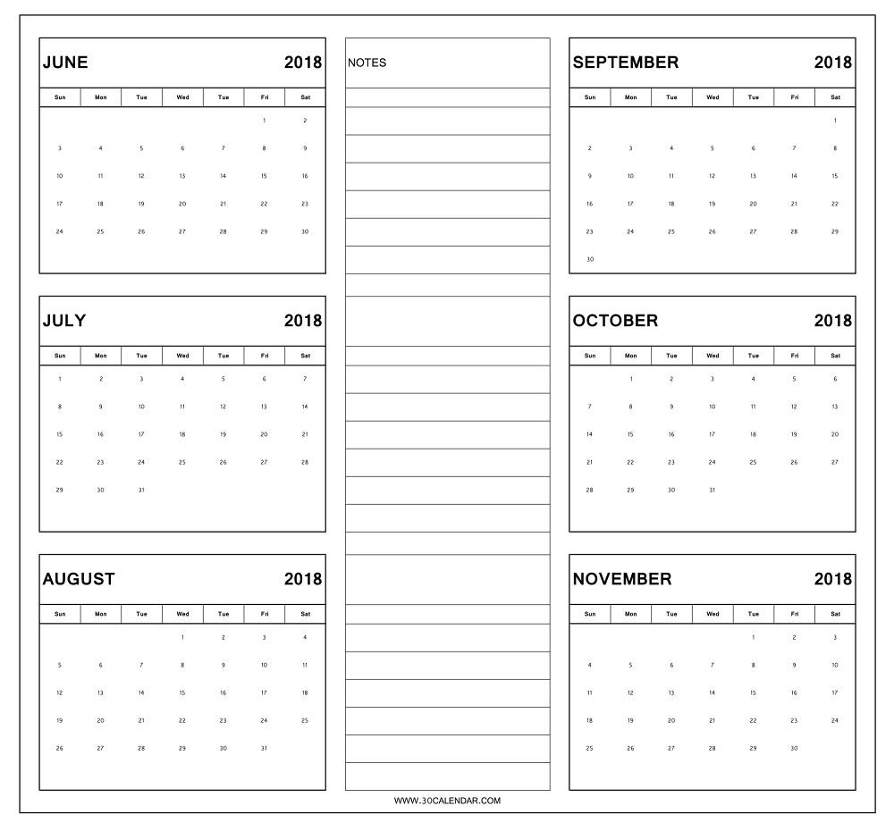Blank Six Month Calendar Printable Example Calendar