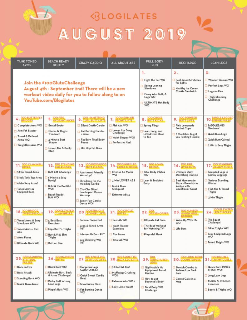 Blogilates August 2020 Challenge Calendar Template 2020 1