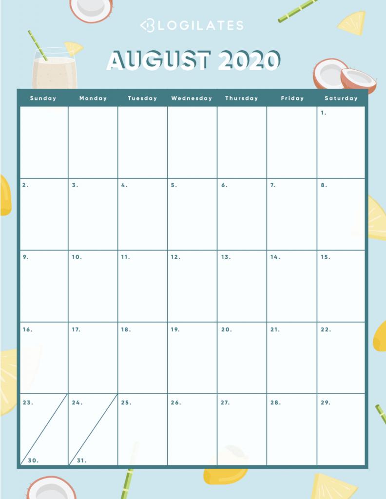 Blogilates August 2020 Challenge Calendar Template 2020 5
