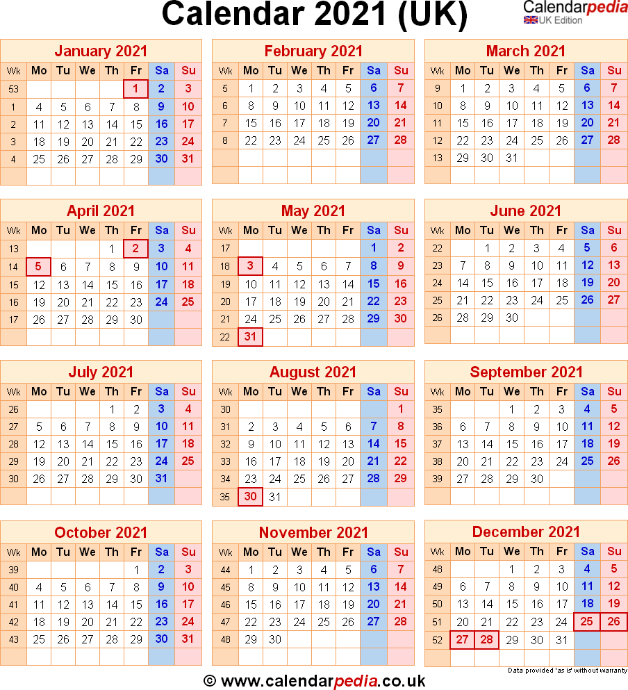 Calendar 2021 Uk With Bank Holidays Excel Pdf Word Templates