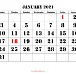 Calendar Grid January 2021 Printable March