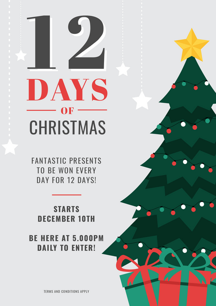 Celebrate Christmas Poster Template With Golden Baubles
