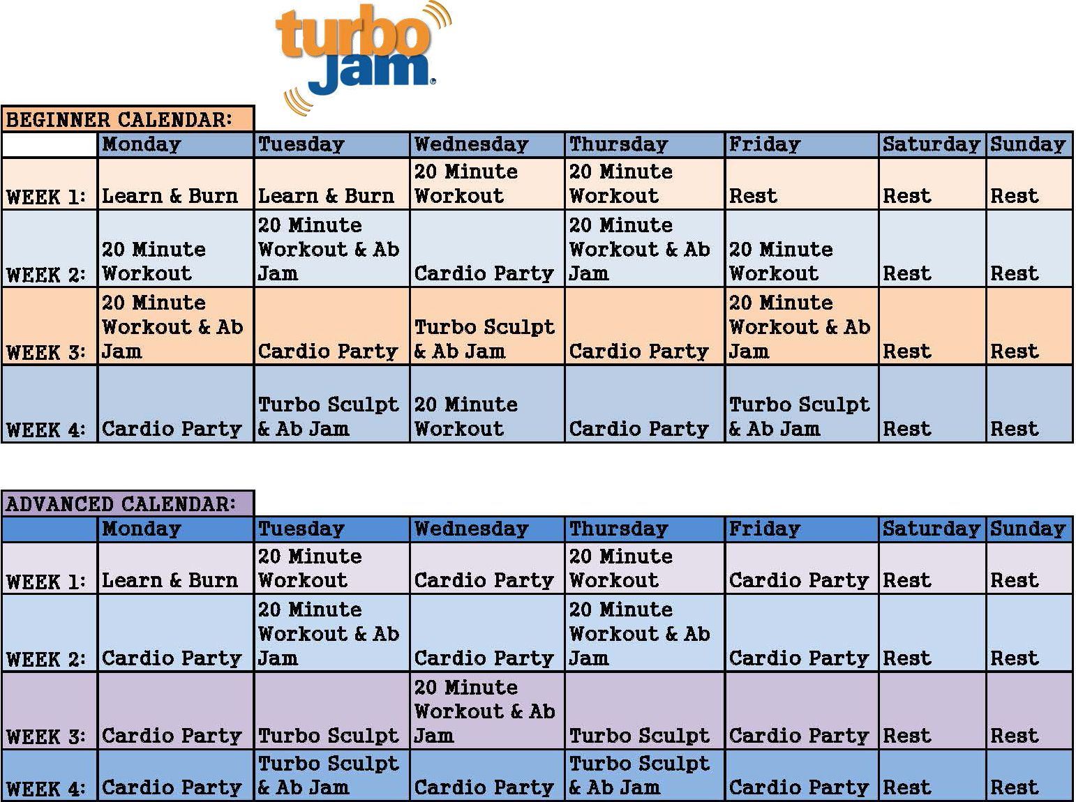 Chalene Johnson Turbo Jam Calendar From Beachbody Turbo