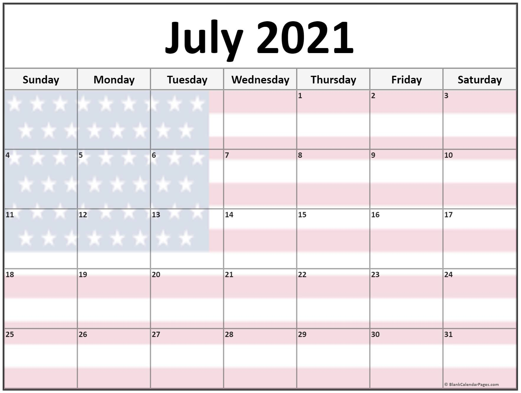 Collection Of July 2021 Photo Calendars With Image Filters