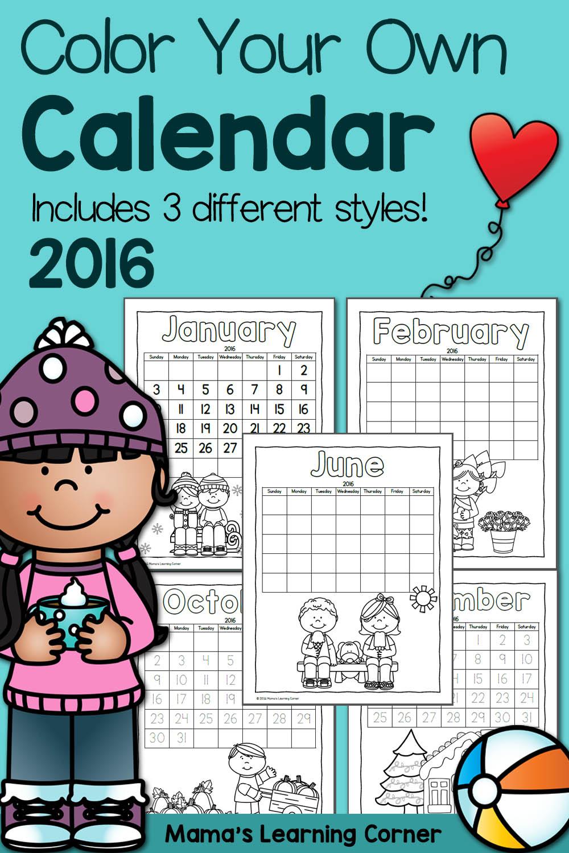 Color Fun Printable Calendar For Kids 2016 Mamas