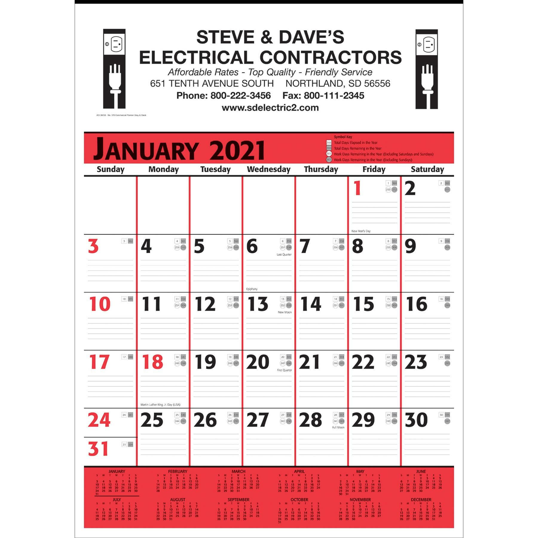 Commercial Planner Wall Calendars 2021 White Red Black