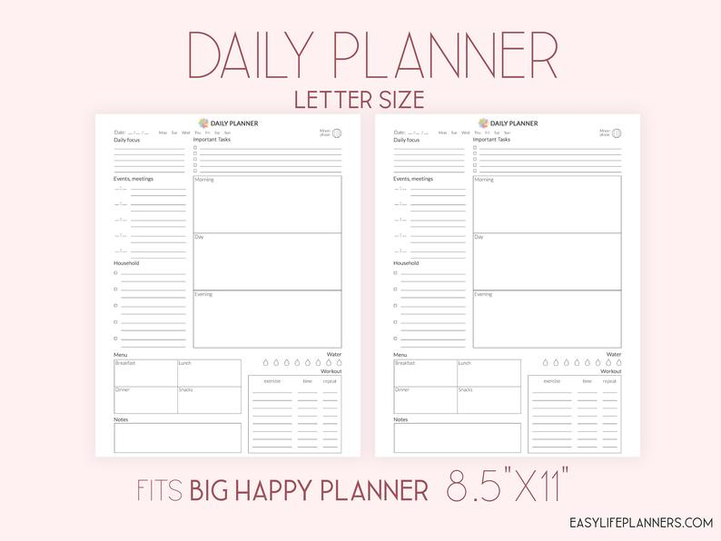 Daily Planner Printable Daily Agenda Daily Planner 2021 Etsy 1