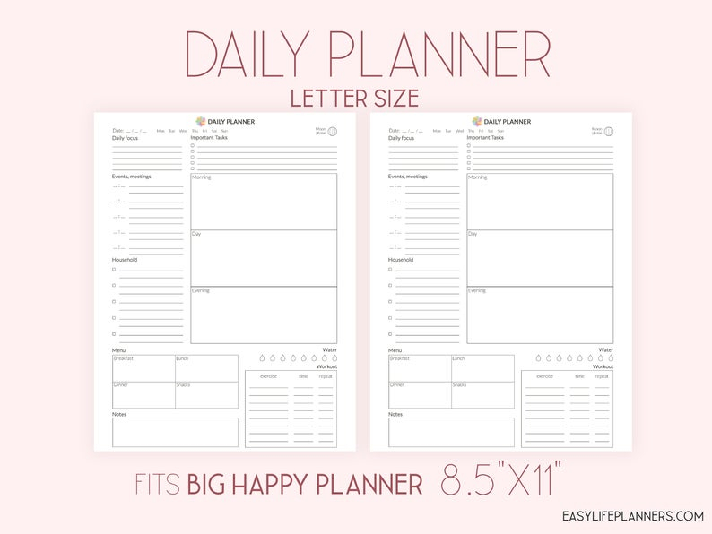 Daily Planner Printable Daily Agenda Daily Planner 2021 Etsy