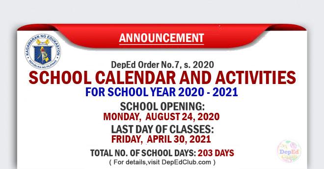 Deped School Calendar And Activities For School Year 2020 2021