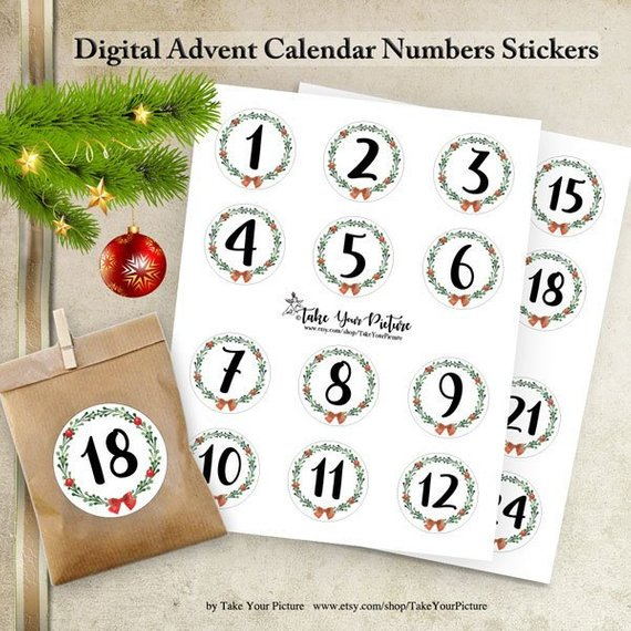 Digital Advent Calendars Stickers 2 Circle Printable