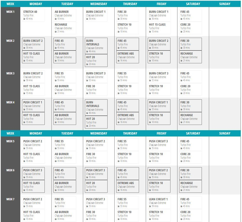 Doubles Chalean Extreme Turbo Fire Hybrid Schedule Weeks