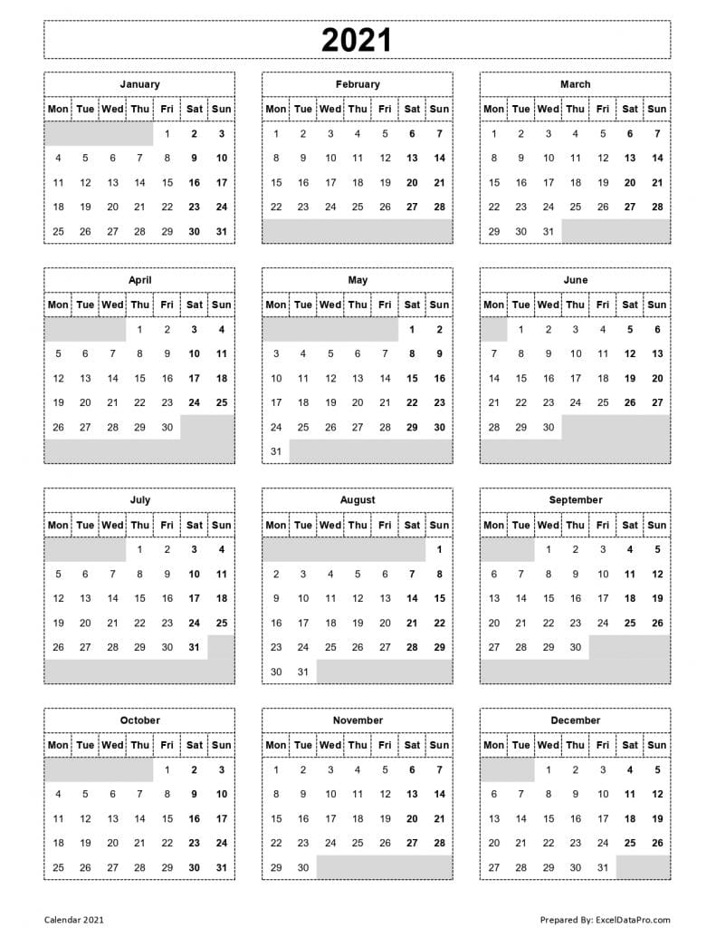 Download 2021 Yearly Calendar Mon Start Excel Template