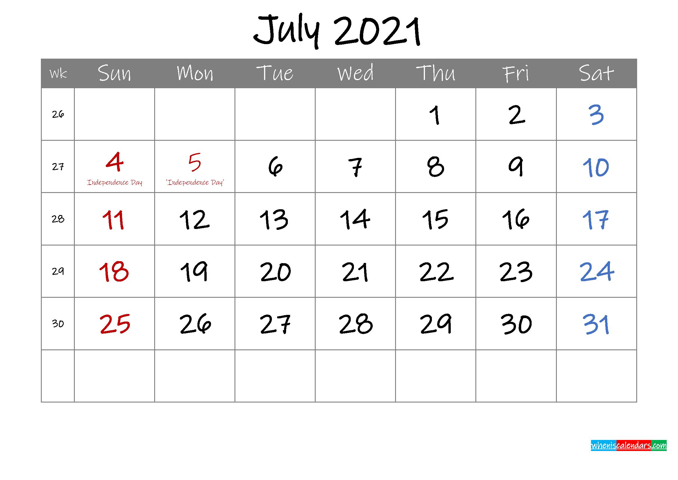 Editable July 2021 Calendar With Holidays Template
