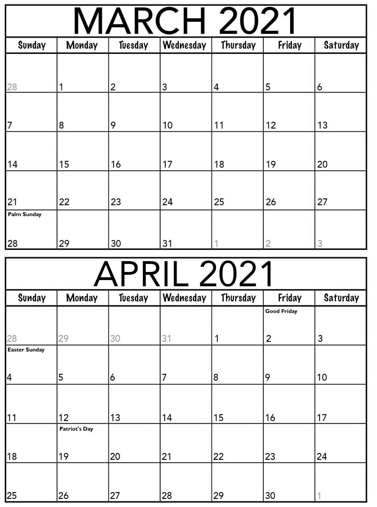 Editable March April 2021 Calendar Printable Sheets Set