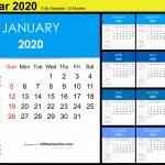 Editable Monthly Calendar Template 2020