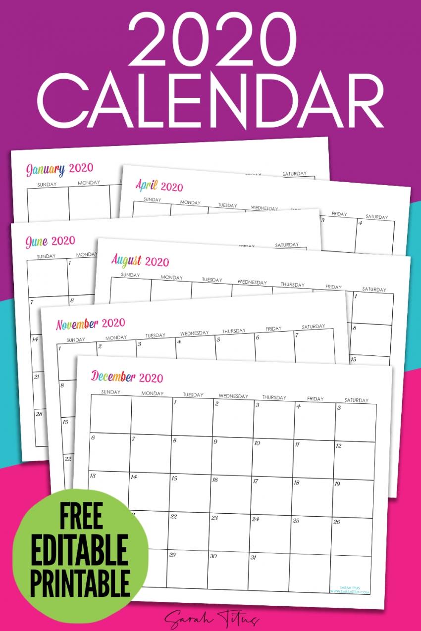 Editable Printable Calendar 2020 Free Letter Templates