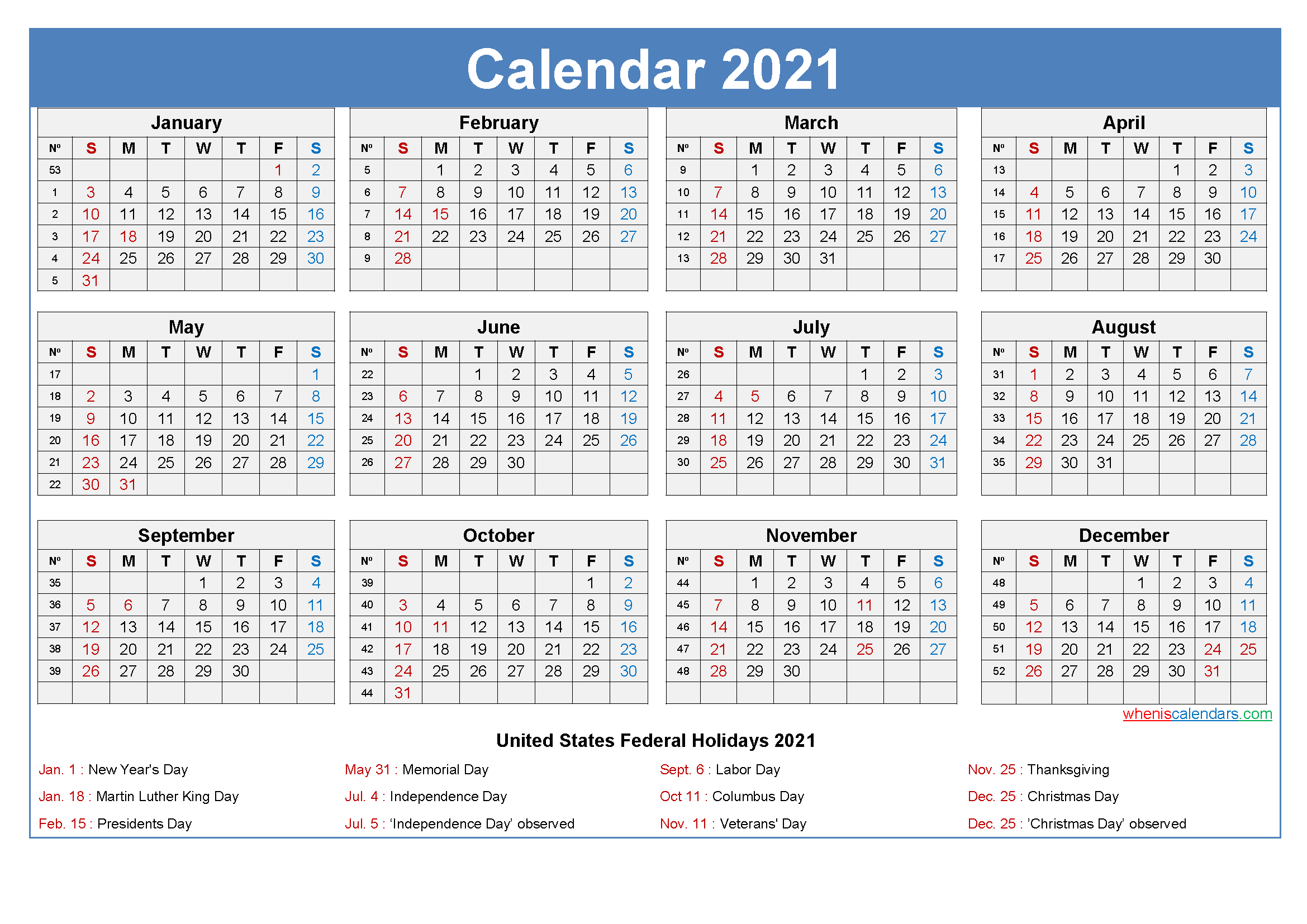 Editable Printable Calendar 2021 Word Template No Ep21y26