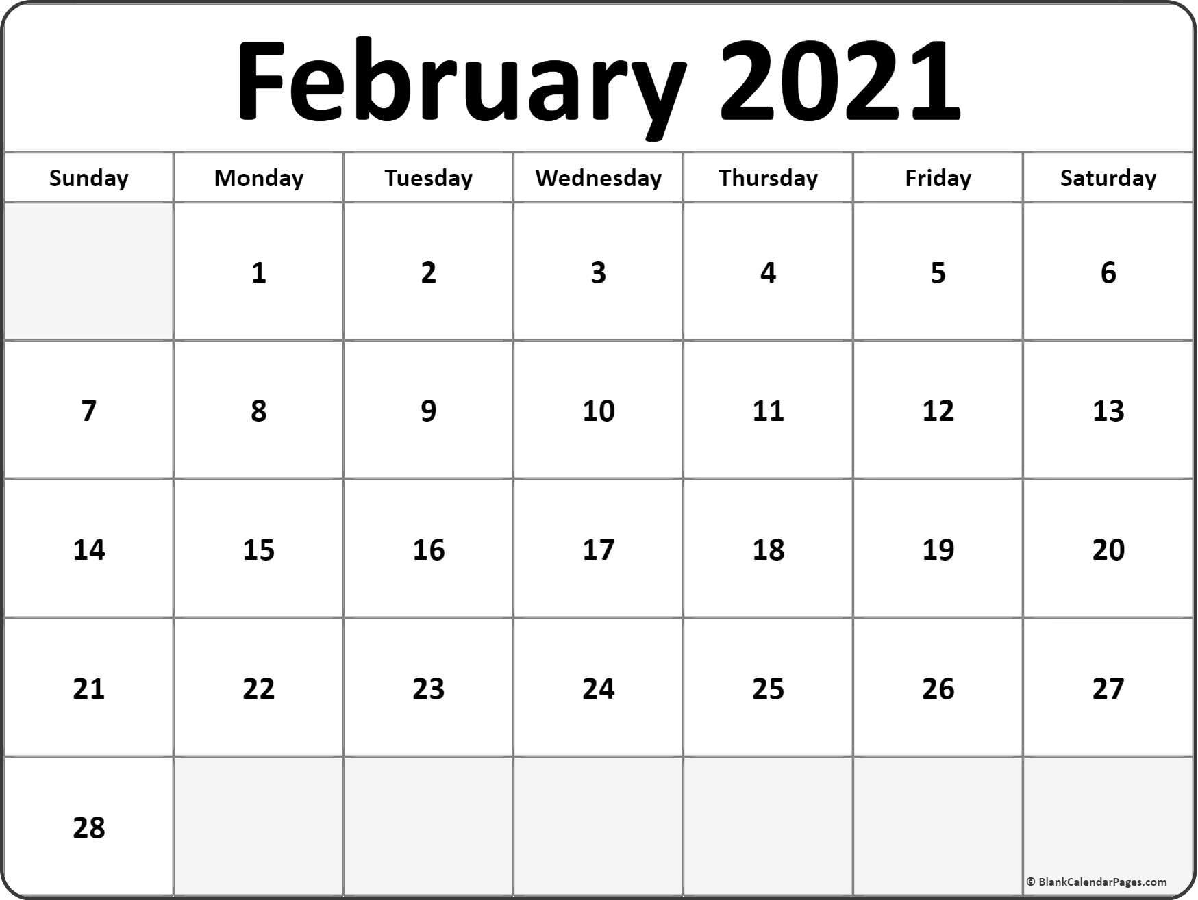 February 2021 Calendar Free Printable Monthly Calendars