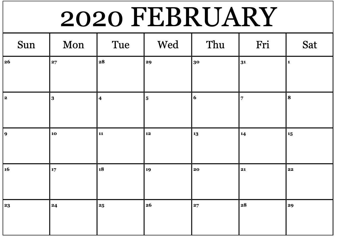 February Printable Calendar For 2020 In 2020 February