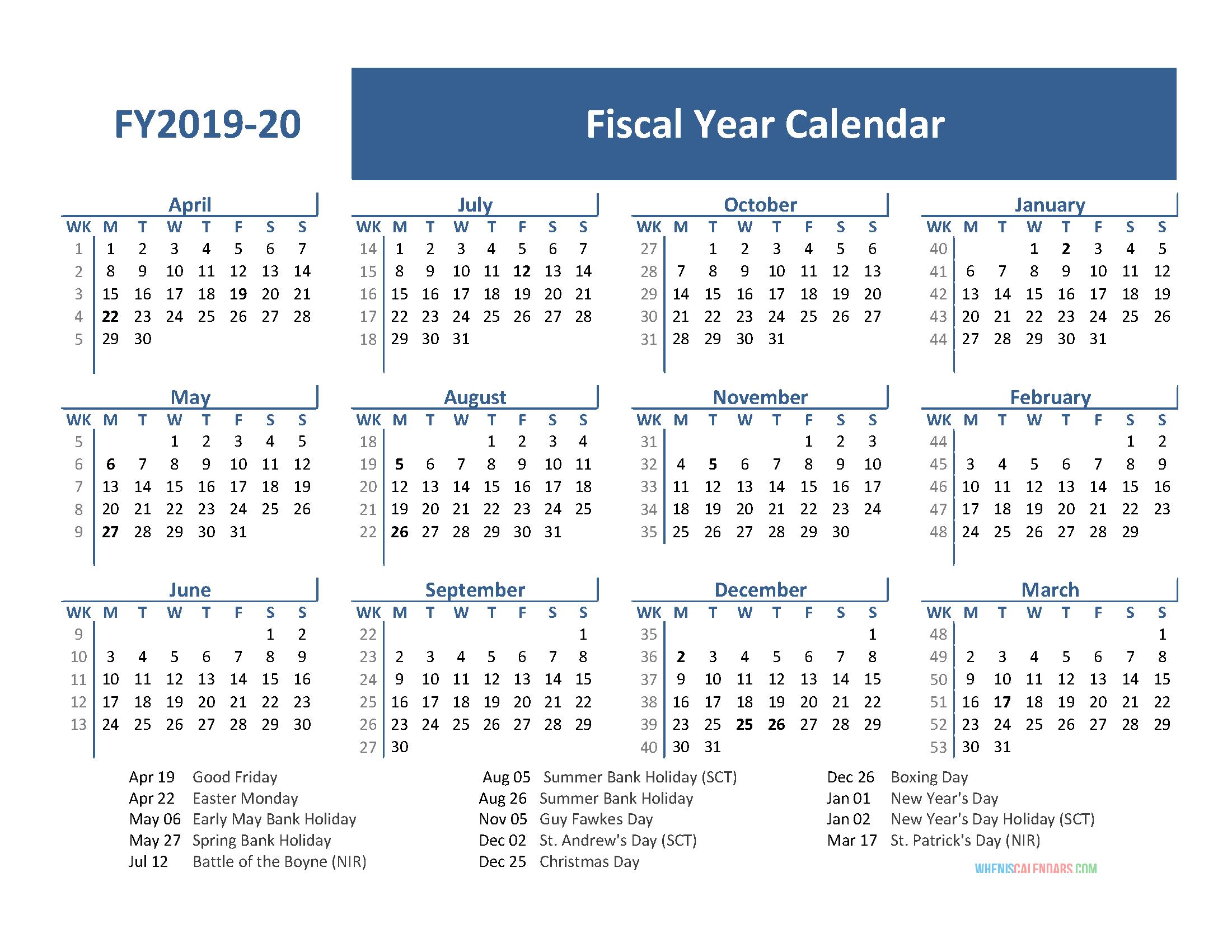 Fiscal Year Calendar 2020 Printable Example Calendar