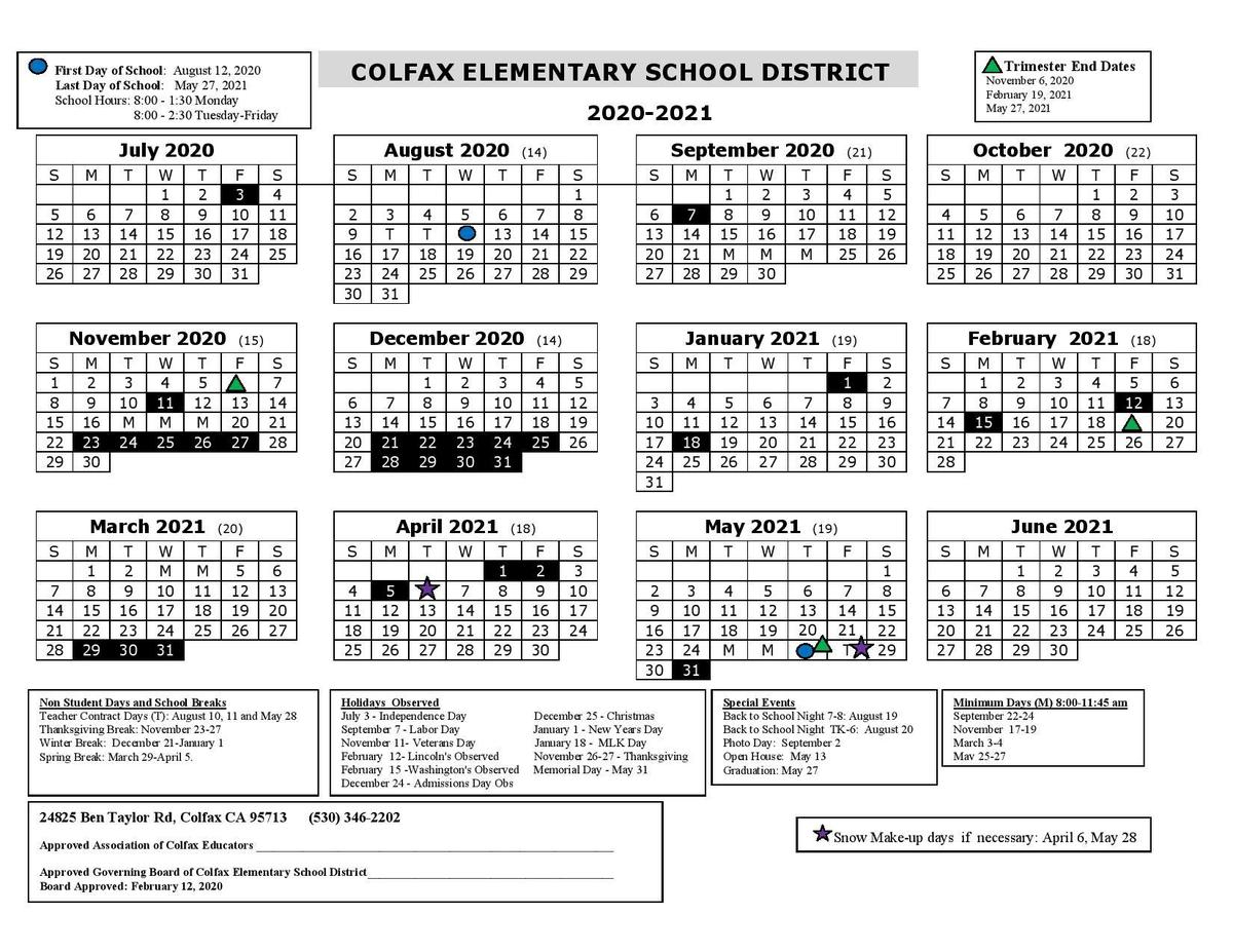Folsom Cordova Calendar 2021 Academic Calendar