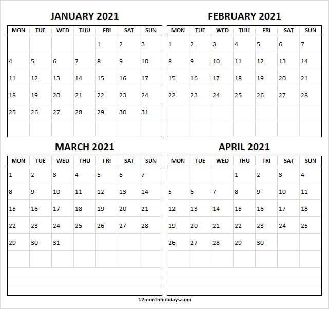 Four Month Calendar January To April 2021 Blank Calendar
