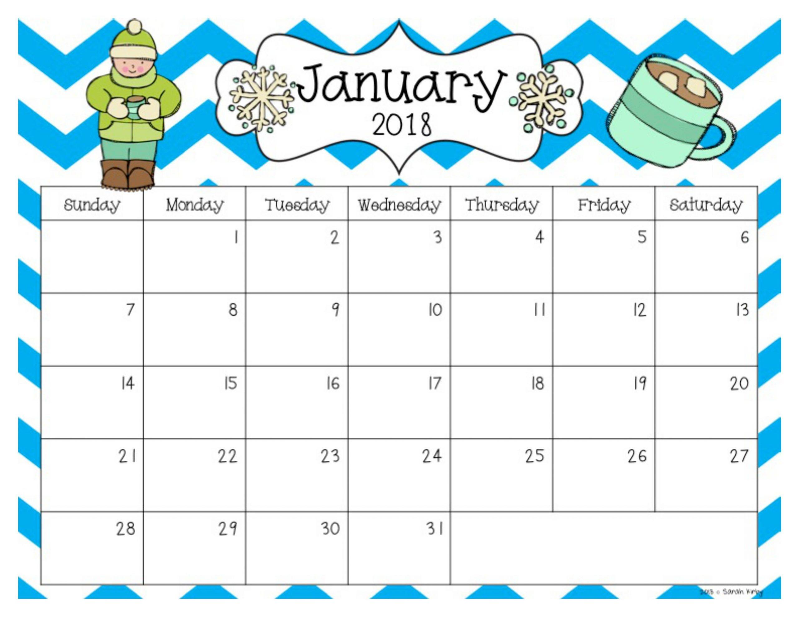 Free 2018 And 2019 Calendar School Calendar Preschool