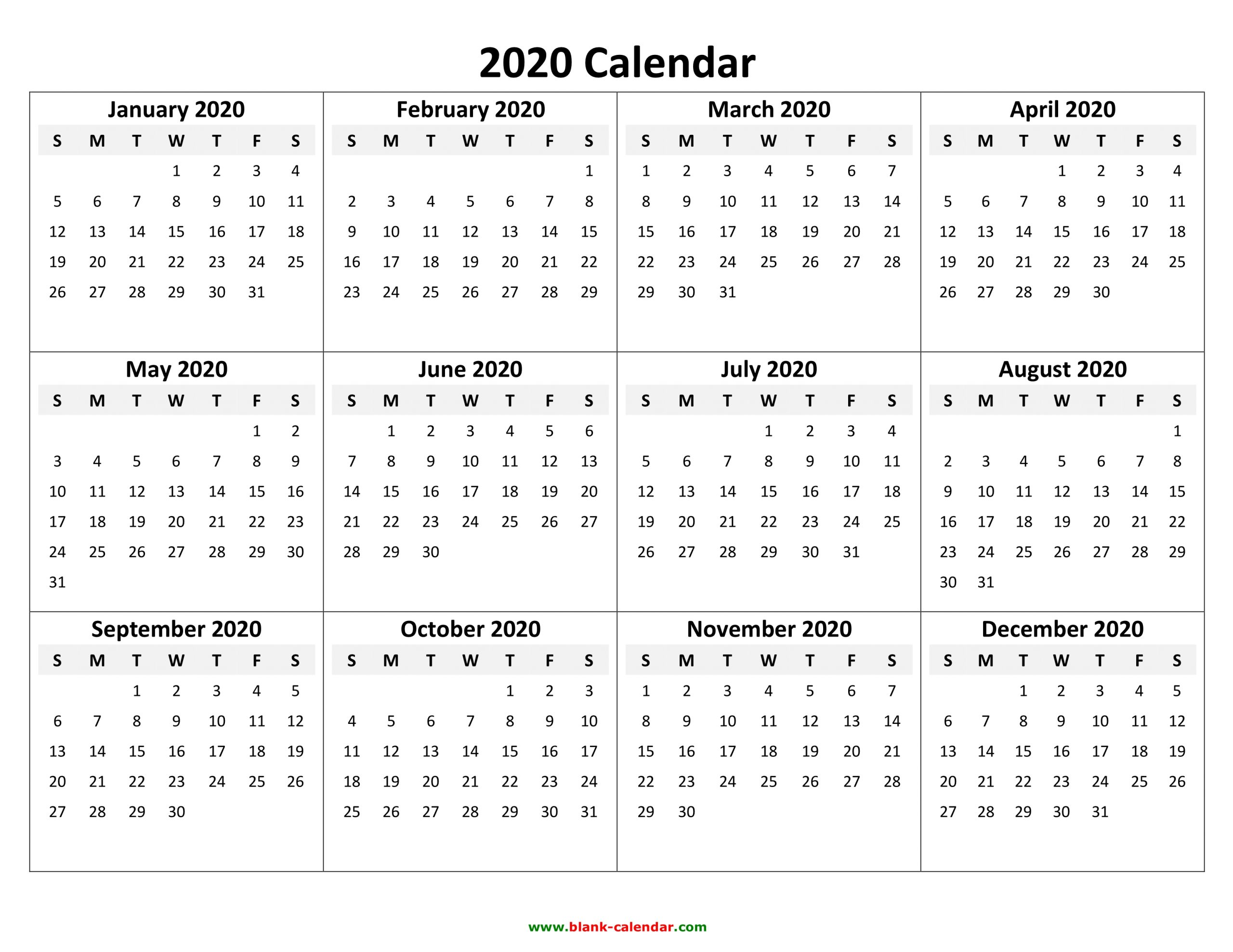 Free 2020 Printable Calendar Templates Create Your Own
