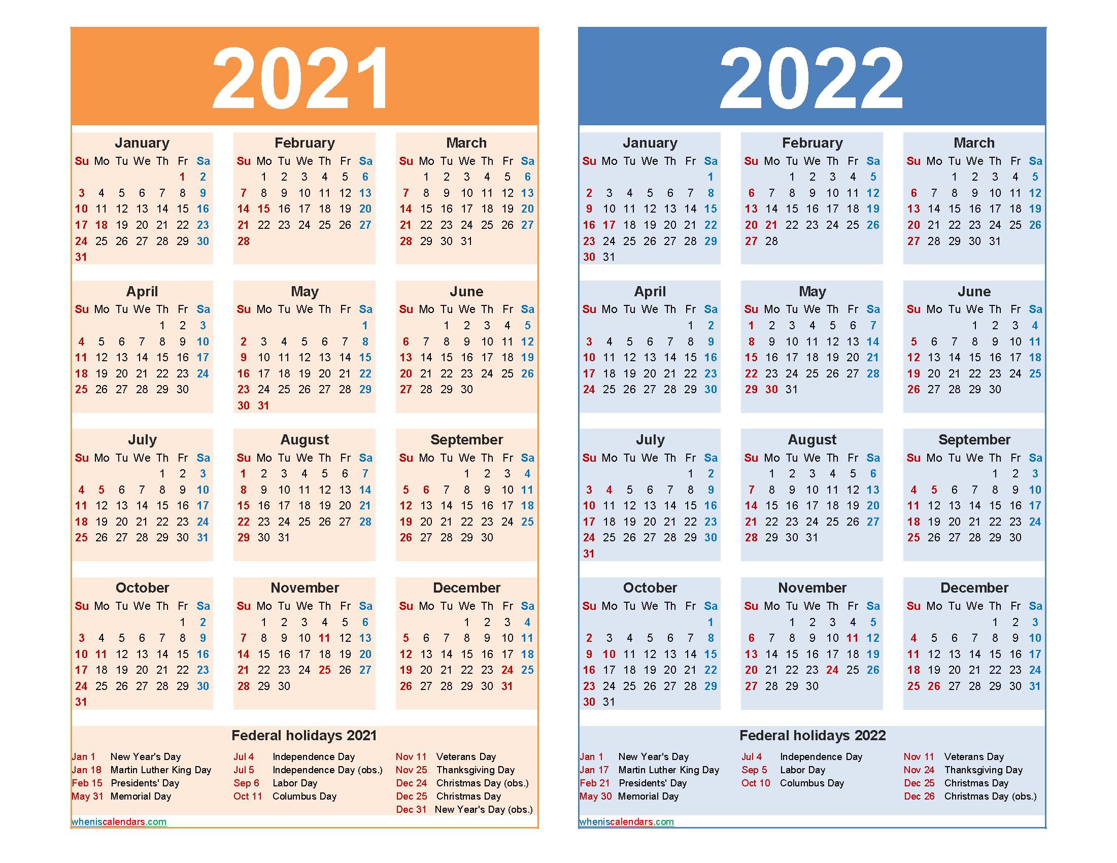 Free 2021 And 2022 Calendar Printable Word Pdf Free