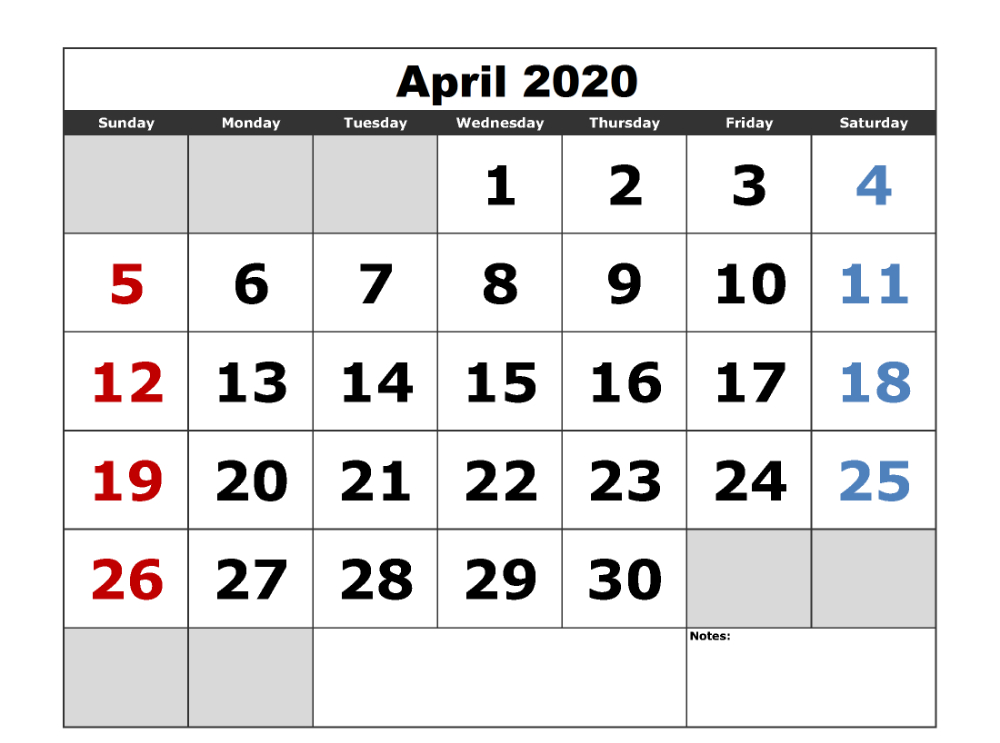 Free April 2020 Calendar Printable In Pdf Word And Excel