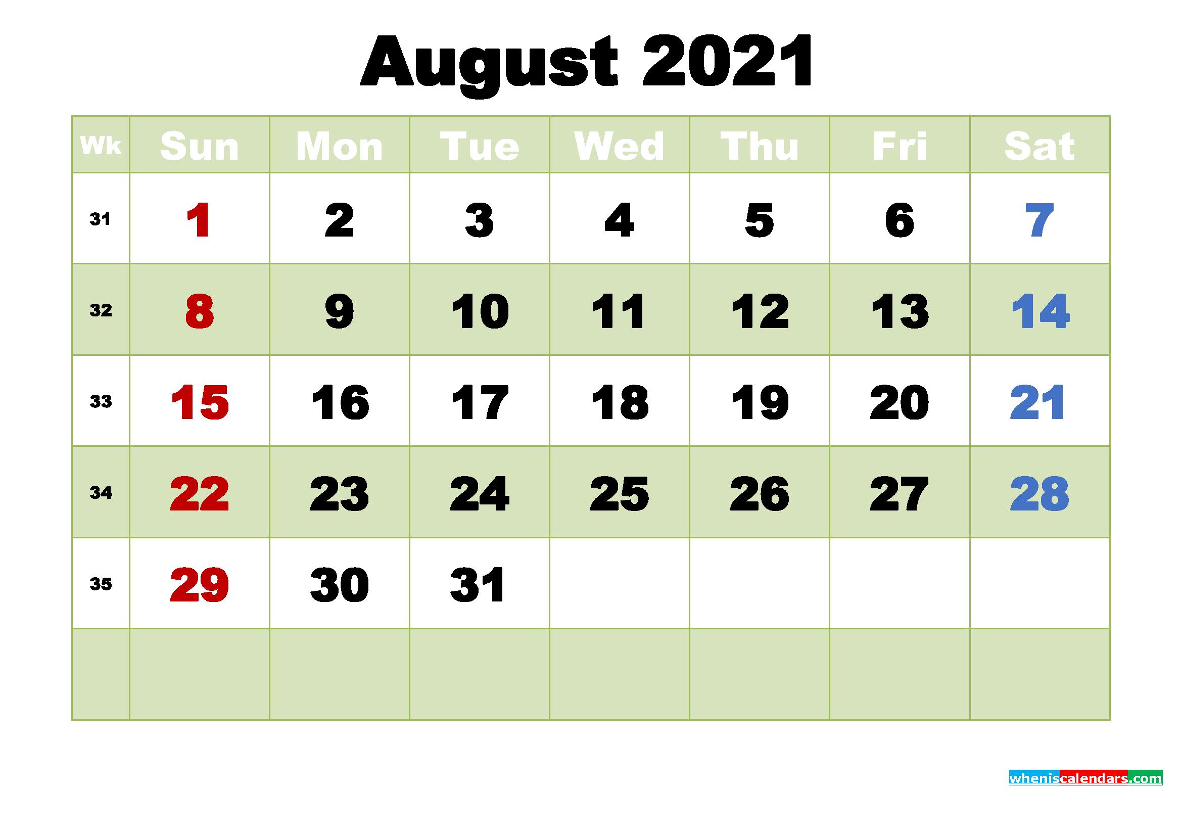 Free August 2021 Printable Calendar Template Word Pdf