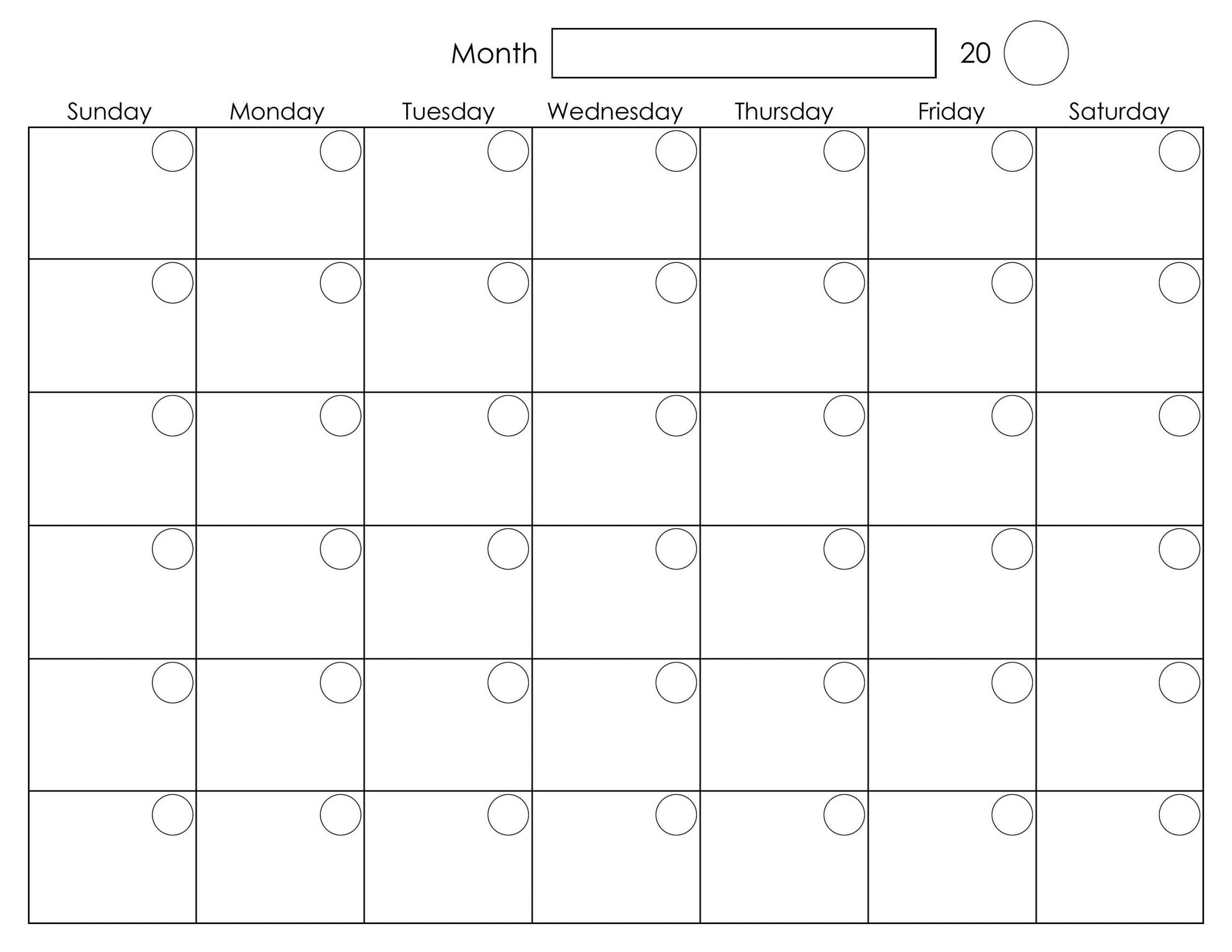 Free Blank Monthly Printable Calendar 2016 Template