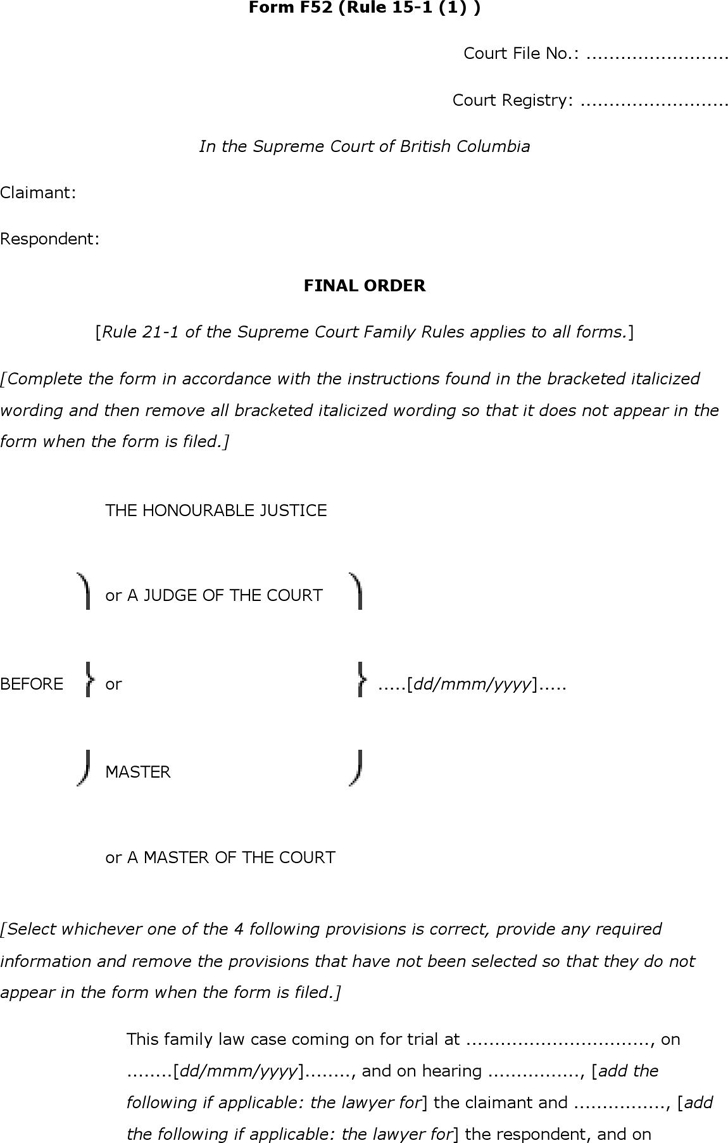 Free British Columbia Final Order Form Docx 75kb 3