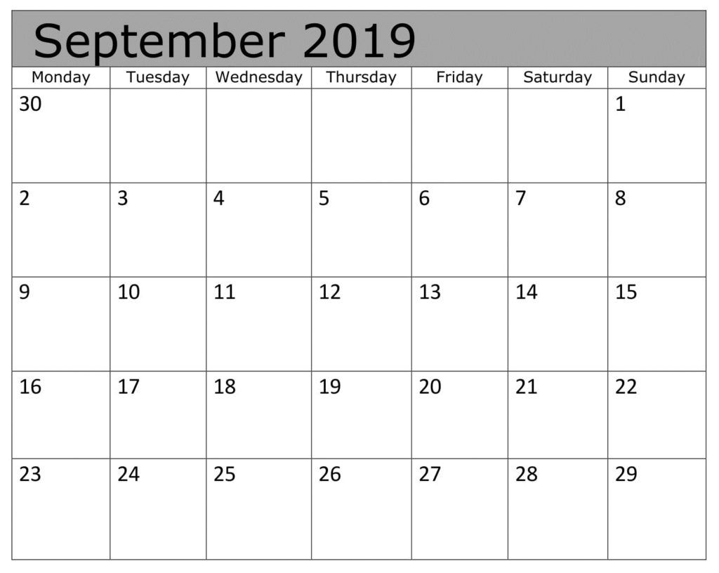 Free Download September Monthly 2019 Calendar Holiday