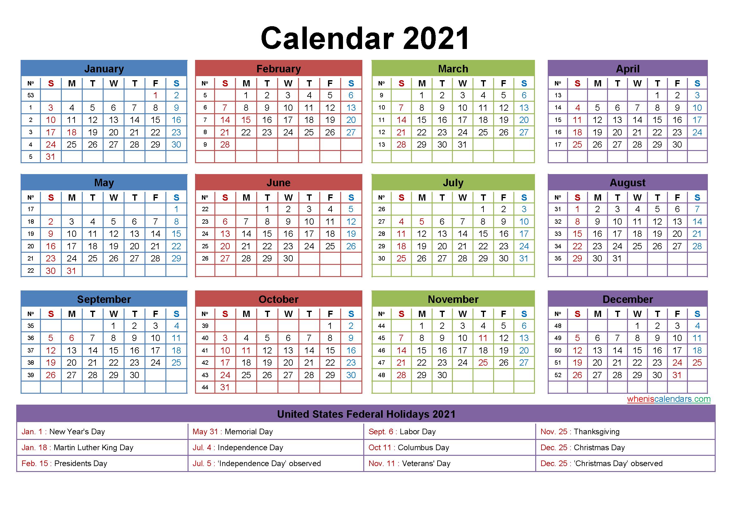 Free Editable Calendar Template 2021 Template No Ep21y24